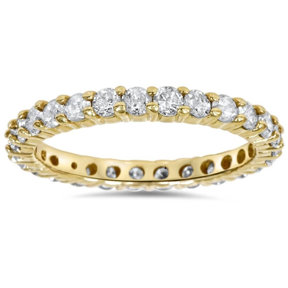 1 1/2ct Prong Diamond Eternity Ring 14K Yellow Gold - Size 8