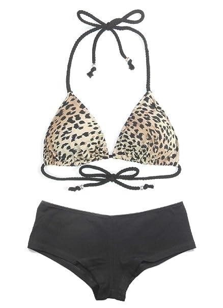 94803b85d210 Women's 2-Piece Leopard Triangle Bikini Top Hipster Boyshort Beachwear  Swimsuit Set Black Multi (