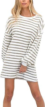 Mini Vestido Mujer Otoño Invierno Manga Larga Cuello Redondo Flecos Vestido Elegantes Sencillos Moda Joven Casual Anchas Vestidos De Camisa Dresses For Women Estilo: Amazon.es: Ropa y accesorios