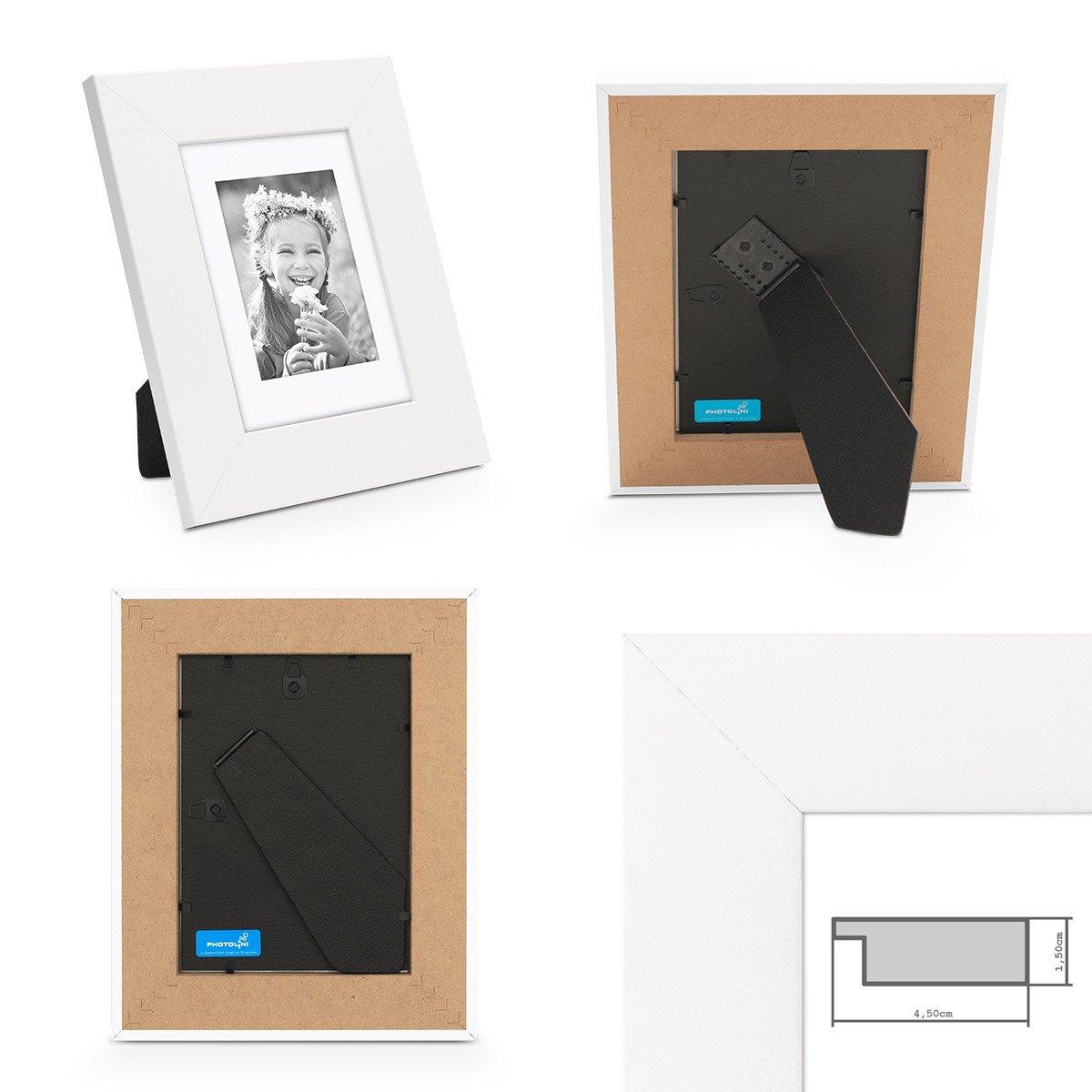 PHOTOLINI Bilderrahmen 20x20 cm Schwarz Modern Breit aus MDF mit ...