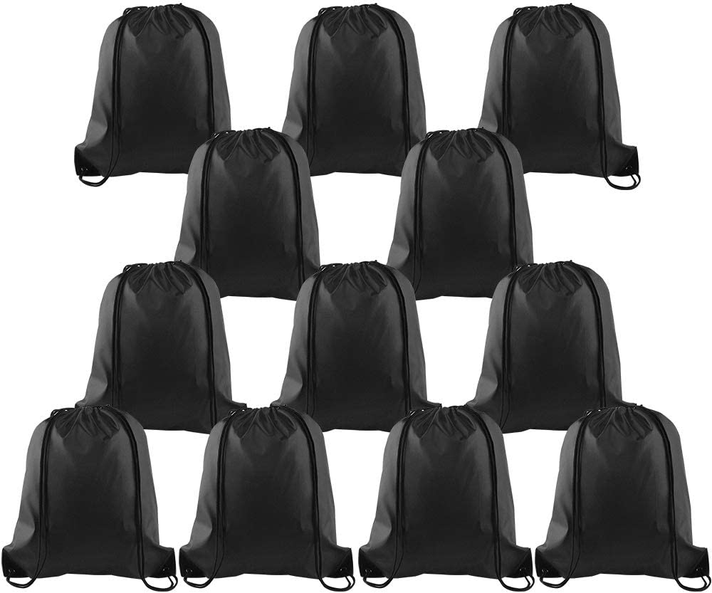 KUUQA 12 Pcs Drawstring Backpack Bags Sport Gym Sack Cinch Bags Bulk for School Traveling and Storage (Black)