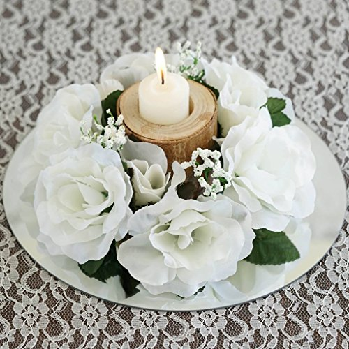 - Efavormart 8 pcs Artificial Roses Flowers Candle Rings for DIY Wedding Centerpieces Party Home Decorations Wholesale - Ivory