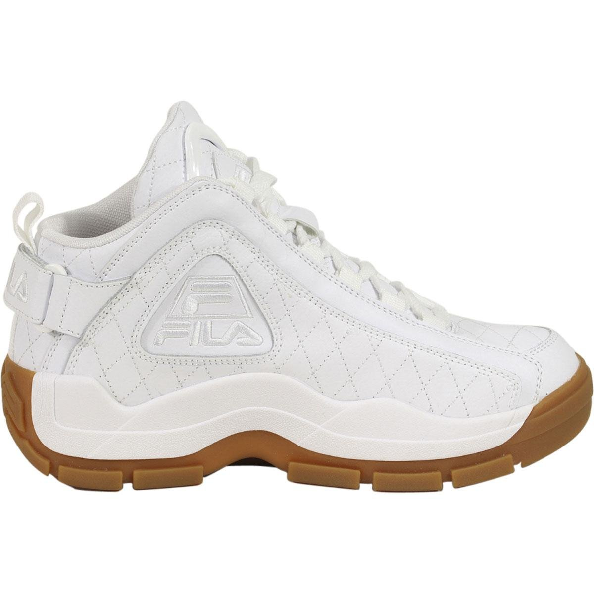 Amazon.com | Fila Mens 96 Quilted White Gum Hightop Basketball Shoes Sneakers | Basketball
