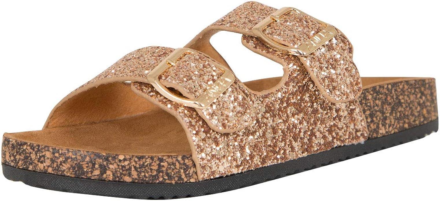 glitter buckle slide sandals