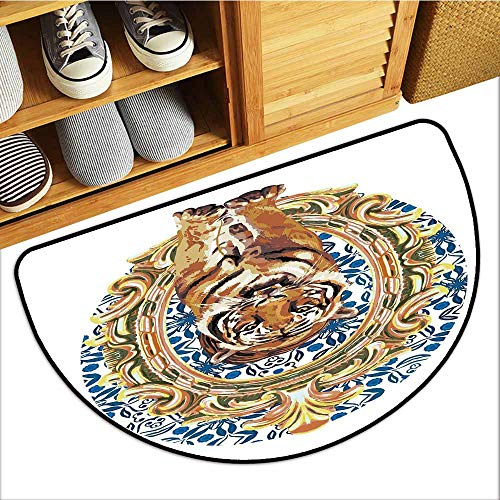 (Axbkl Door mat Customization Tiger Large Cat Crossing from Vintage Frame Japanese Design Exotic Adventure with Anti-Slip Support W31 xL20 Royal Blue Light Brown)