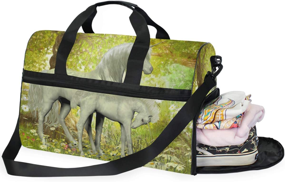 Unicorns And White Daisies Sports Gym Bag with Shoes Compartment Travel Duffel Bag for Men and Women