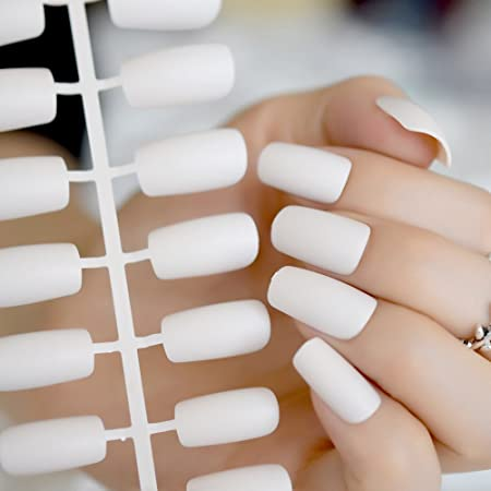 Amazon.com : Treat Yourself Press On Nail Kit Milk White Matte Square Fake Nail Art Tips Medium Size Quality DIY Manicure Tips 24 Count Z328 : Beauty