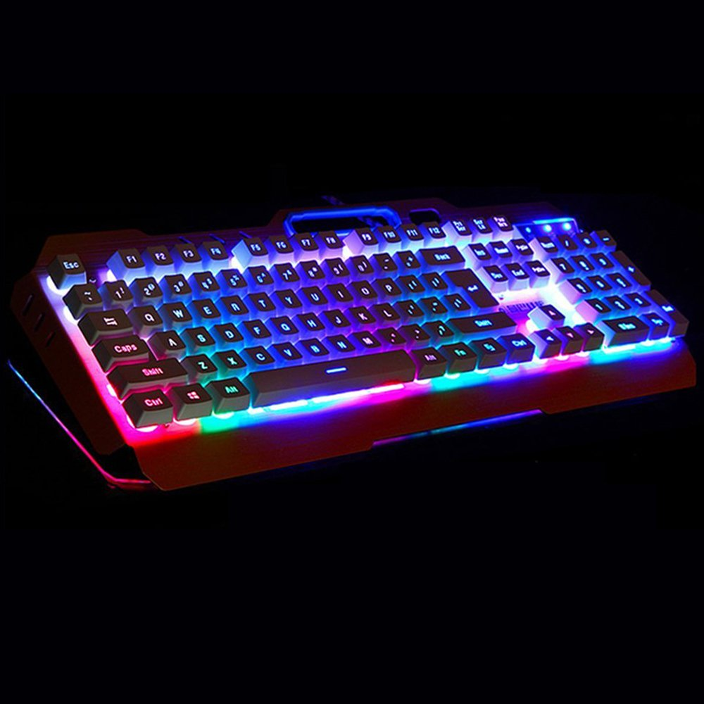 3738d4c0f24 UrChoiceLtd® 2017 XinMeng M398 Rainbow LED Backlit Multimedia Ergonomic Usb Gaming  Keyboard with Phone and Lighter Stand + 2000DPI X4 6 Buttons Gaming Mouse  ...