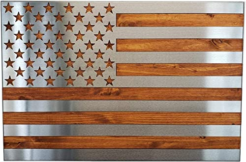 Metal Art of Wisconsin Metal Art US Flag Metal Decor, Patriotic Wall Art, Hand Oiled Pine Polished 3 Foot