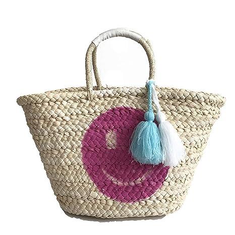 Bolsa de Playa de Paja Tejida para Mujer, Bolsa de Paja ...