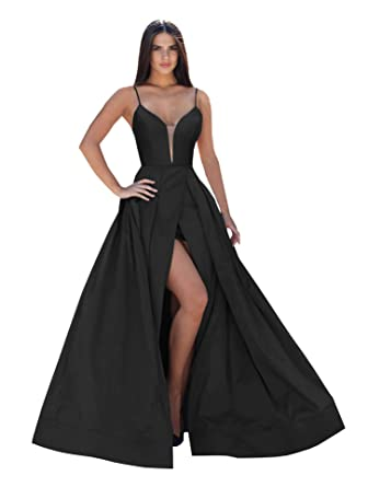 2ac21d69f44 Now and Forever Sexy Deep V Neck Pleated Satin Evening Dresses Long A-Line  Slit