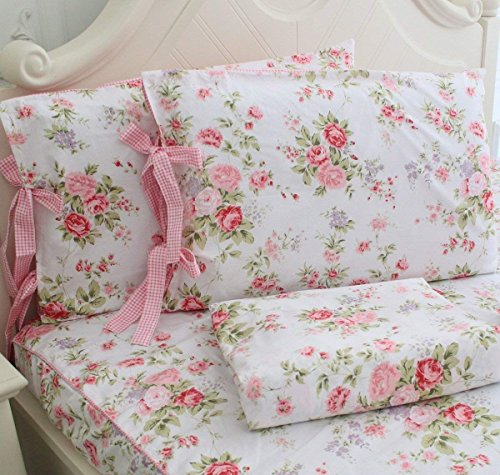FADFAY Cotton Bed Sheets Set Shabby Rose Floral Print Sheet Bedding 4-Piece Twin ()