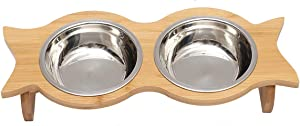 Morezi Stainless Steel Raised cat Bowls, cat Food Bowls, 12 Ounces Elevated Food or Water Bowls, Double cat Dishes, Gift for Kitty - Double Steel