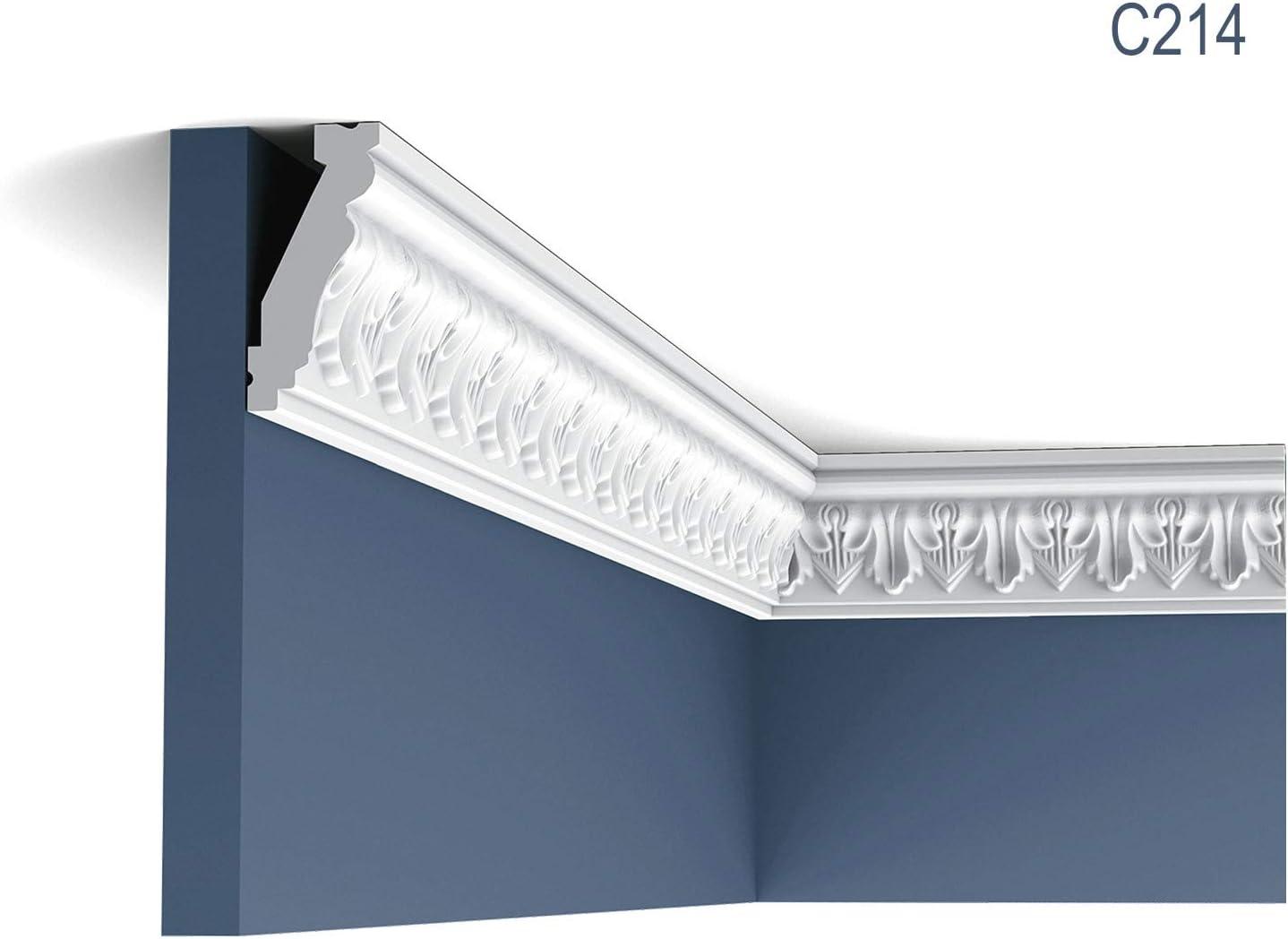 2 Meter Zierleiste Orac Decor C213 LUXXUS Stuckleiste Eckleiste Stuckprofil Dekor Decken Wand Leiste klassisch wei/ß