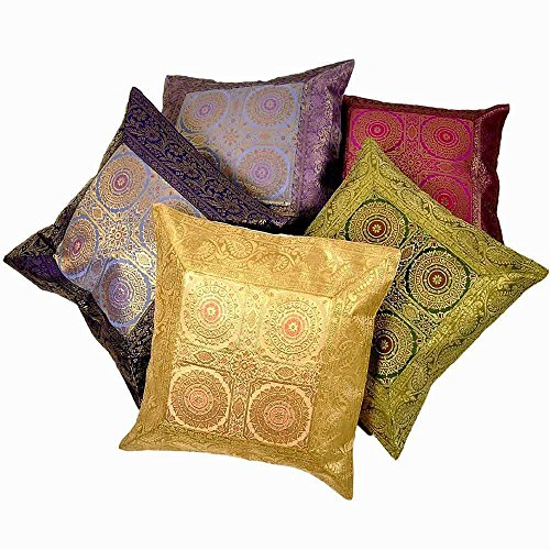 Little India Ethnic 5 Pc. Banarasi Brocade Cushion Covers Set (433 Silk)