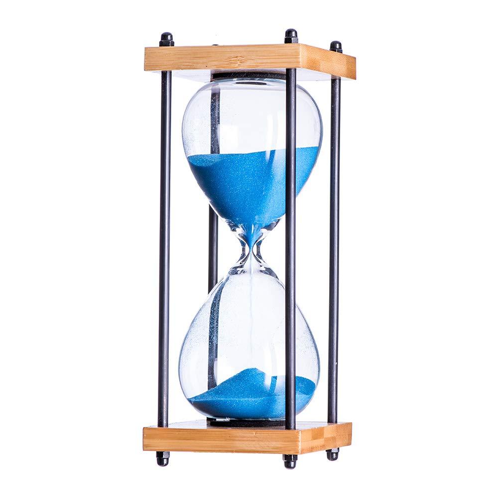 Bellaware Large Hourglass Timer Black Sand Timer 30 Minutes Wooden Sandglass