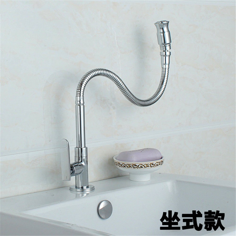 Commercial Single Lever Pull Down Kitchen Sink Faucet Brass Constructed Polished Kitchen Sink is Located in The Faucet Single Cold Balcony Mop Pool Faucet Laundry Pool Faucet Copper