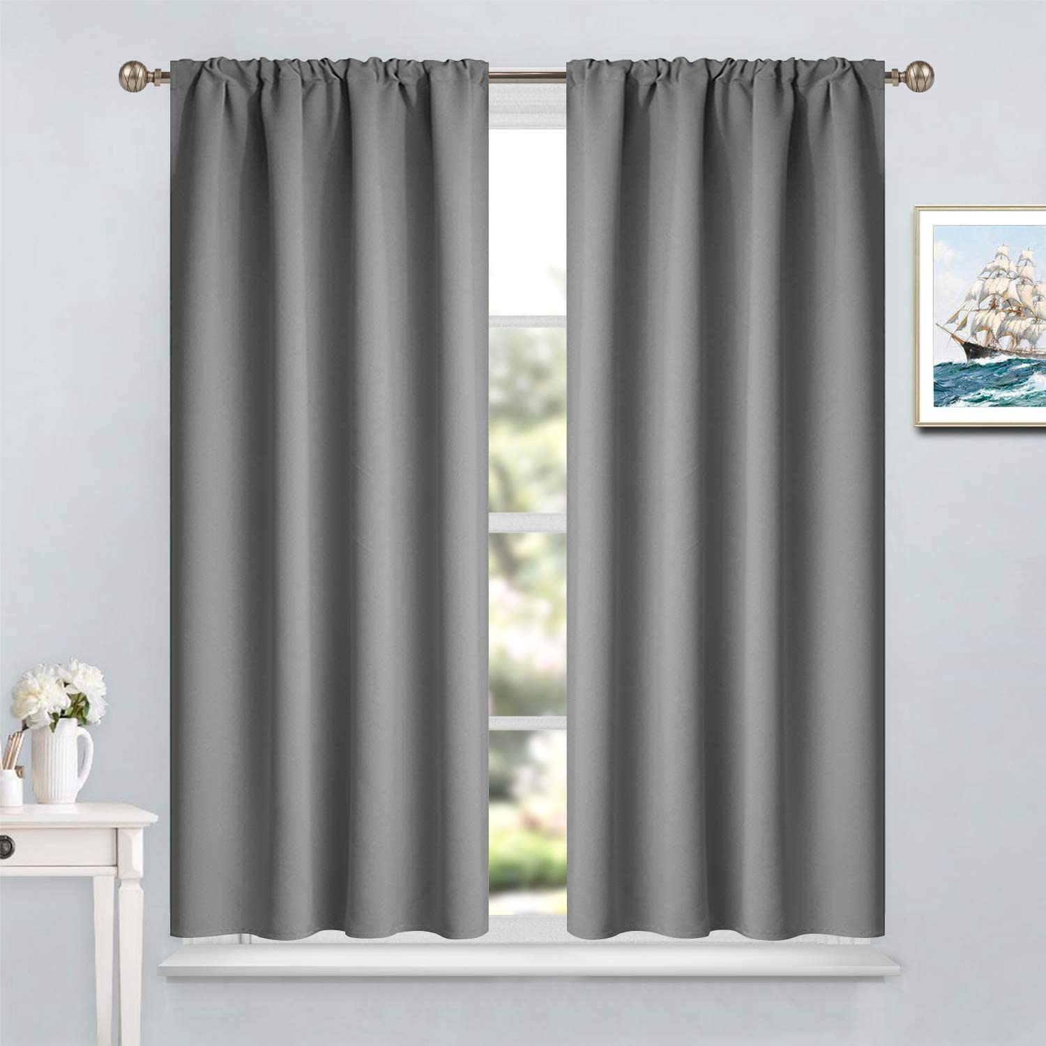 yakamok gray rod pocket curtains room darkening thermal insulated blackout curtains for bedroom window treatment drapes for living room 38w x 45l