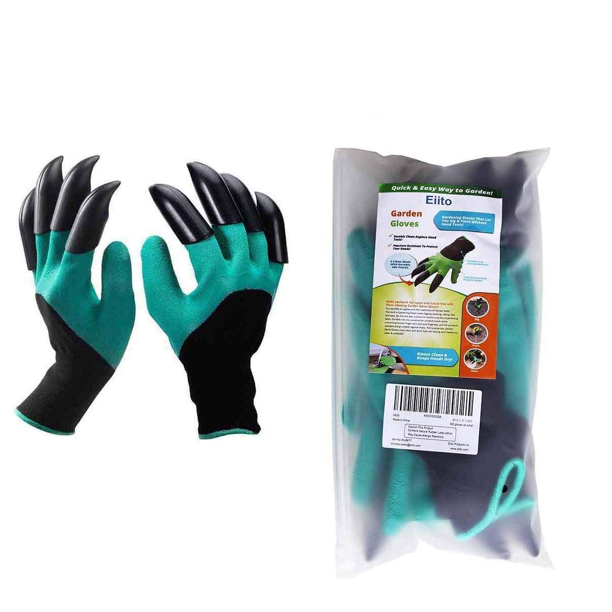 Garden genie gloves (right+left), gardening gloves claw easy to digging and Garden glove planting, raking safe eiito