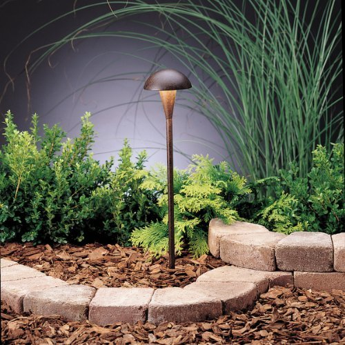 Tannery Bronze Landscape Path (15323TZT Eclipse 1LT Incandescent/LED Hybrid LV Landscape Path & Spread Light, Textured Tannery Bronze Finish by Kichler Lighting)