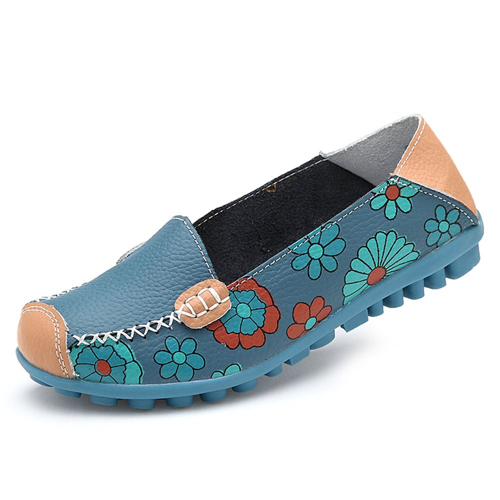 Womens Cowhide Floral Print Flat Casual Slip on Driving Loafer Shoes