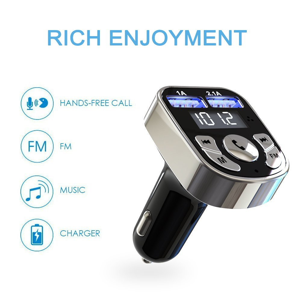 Niukamo Bluetooth FM Transmitter for Car Blue Tooth Receiver Charger MP3 Player In-Car Quickly Charging Wireless Stereo Radio Adapter Kit Hands Free Calling Dual USB Ports Charge 5V (FM TRANSMITTER) by Niukamo (Image #2)