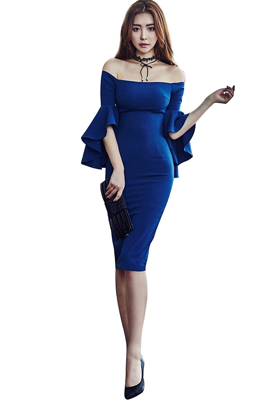 JSファッション フレア袖 オフショルダー膝丈スレンダーライン パーティードレス [並行輸入品] B01MY0HO07  ブルー Sサイズ