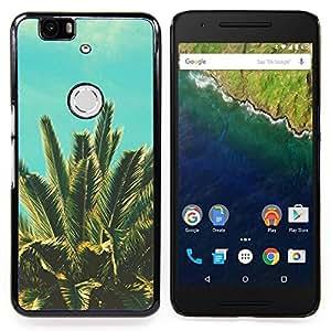 """For Huawei Google Nexus 6P Case , Palmera Trópicos Azul Viñeta Naturaleza"""" - Diseño Patrón Teléfono Caso Cubierta Case Bumper Duro Protección Case Cover Funda"""