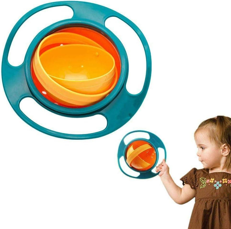 Baby Feeding Bowl Magic 360 Degree Rotating Gyro Toddler Infants Non No Spill Blue, 1