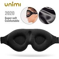 Schlafmaske, Unimi verbesserte 3D konturierte Schalen-Augenmaske, Gedächtnis-Schaum Augenschutz mit verstellbarem Gurt, 100% lichtblockierende Schlafmaske zum Schlafen, Reisen, für Frauen und Männer