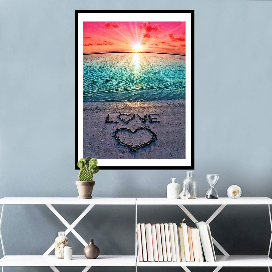 mifengda DIY 5D Diamond Painting Kits Full Drill Diamond Embroidery Paintings Pictures by Number for Adults Kids for Home Wall Decor Study Room, Love Beach (30x40cm/11.8x15.7\