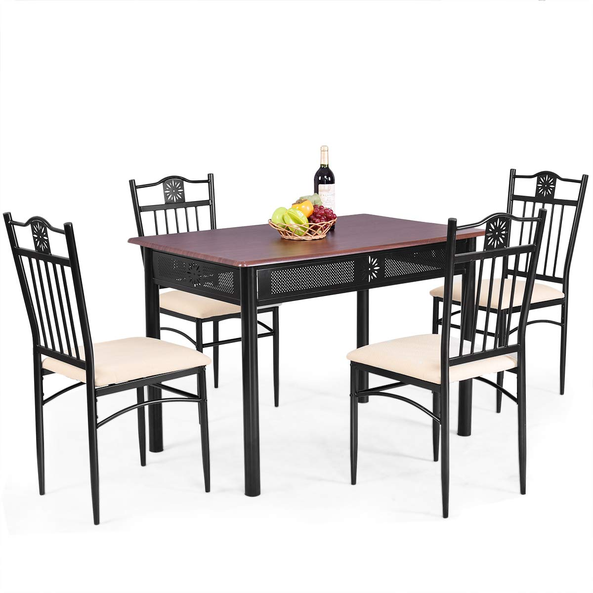 Tangkula 5 Piece Dining Table and Chairs Set Vintage Retro Wood Top Metal Frame Padded Seat Dining Table Set Home Kitchen Dining Room Furniture