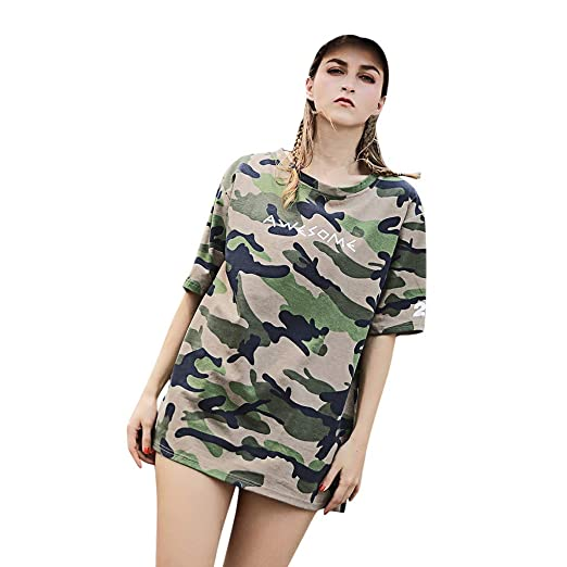 30c052e684e173 Amazon.com: Dndnchun Womens Shirts Casual Loose Printed Blouse T-Shirt  Short Sleeve Summer Fashion O-Neck Plus Size Tunic Tops Tee: Clothing