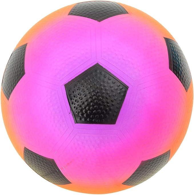 "8"" Neon Rainbow Rubber Playground Play Beach Sport Ball Football Keychain"