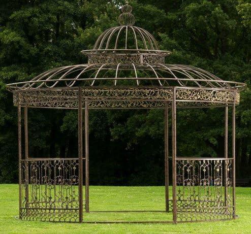 CLP redonda Carpa romanticismo, de lujo de hierro cuadrado perfiles Estable, diámetro 3, 45m, altura de 350cm Bronce: Amazon.es: Jardín