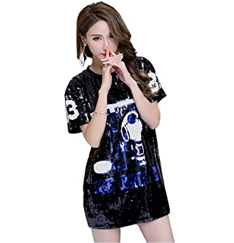 acbbe5365 Shimmer Snoopy T Shirt Women - Oversize Sequin T Shirt Jazz Dance Costume  Top Holiday T