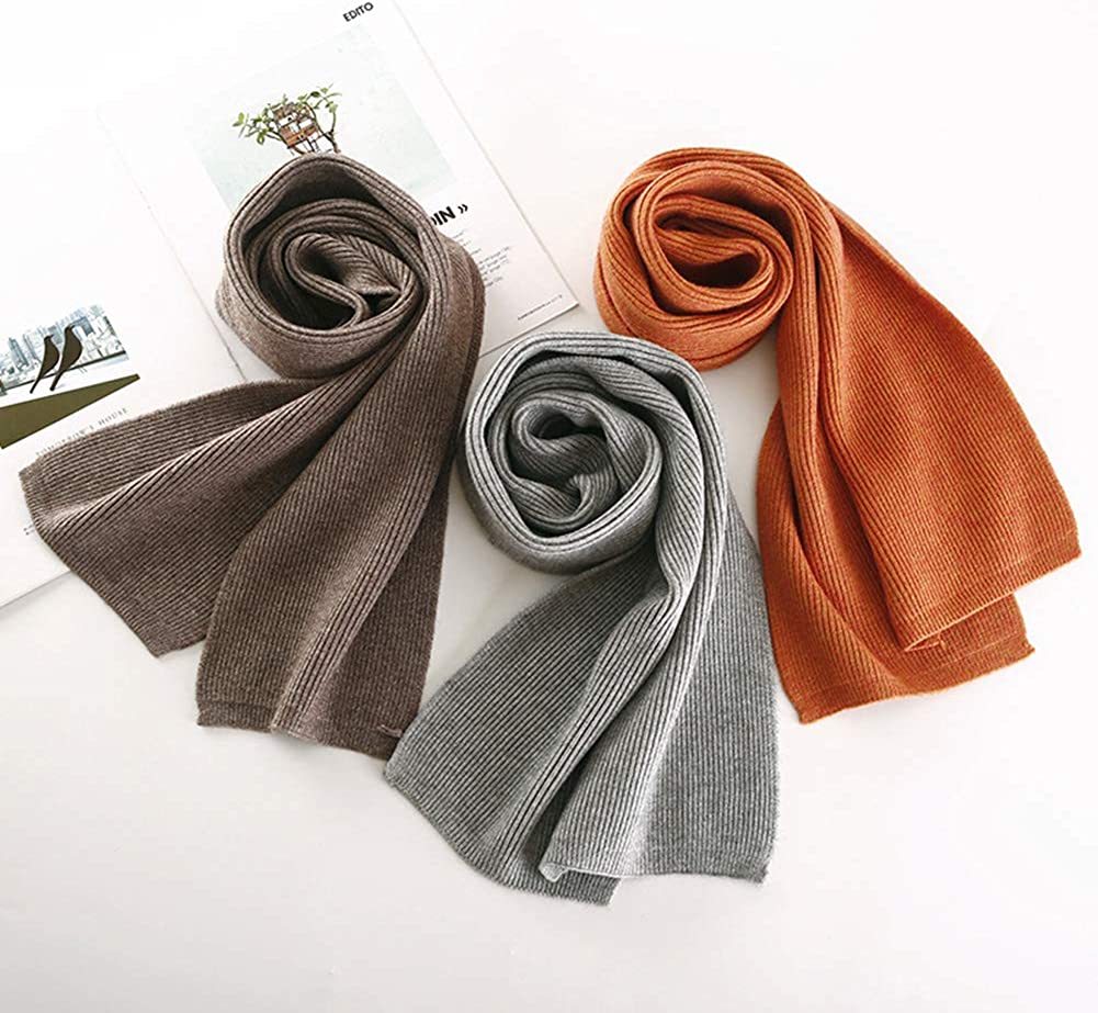 OUYAWEI Double-side Pure Color Water Ripple Knitted Unisex Scarf Warm Soft Scarf creamy-white 15020CM