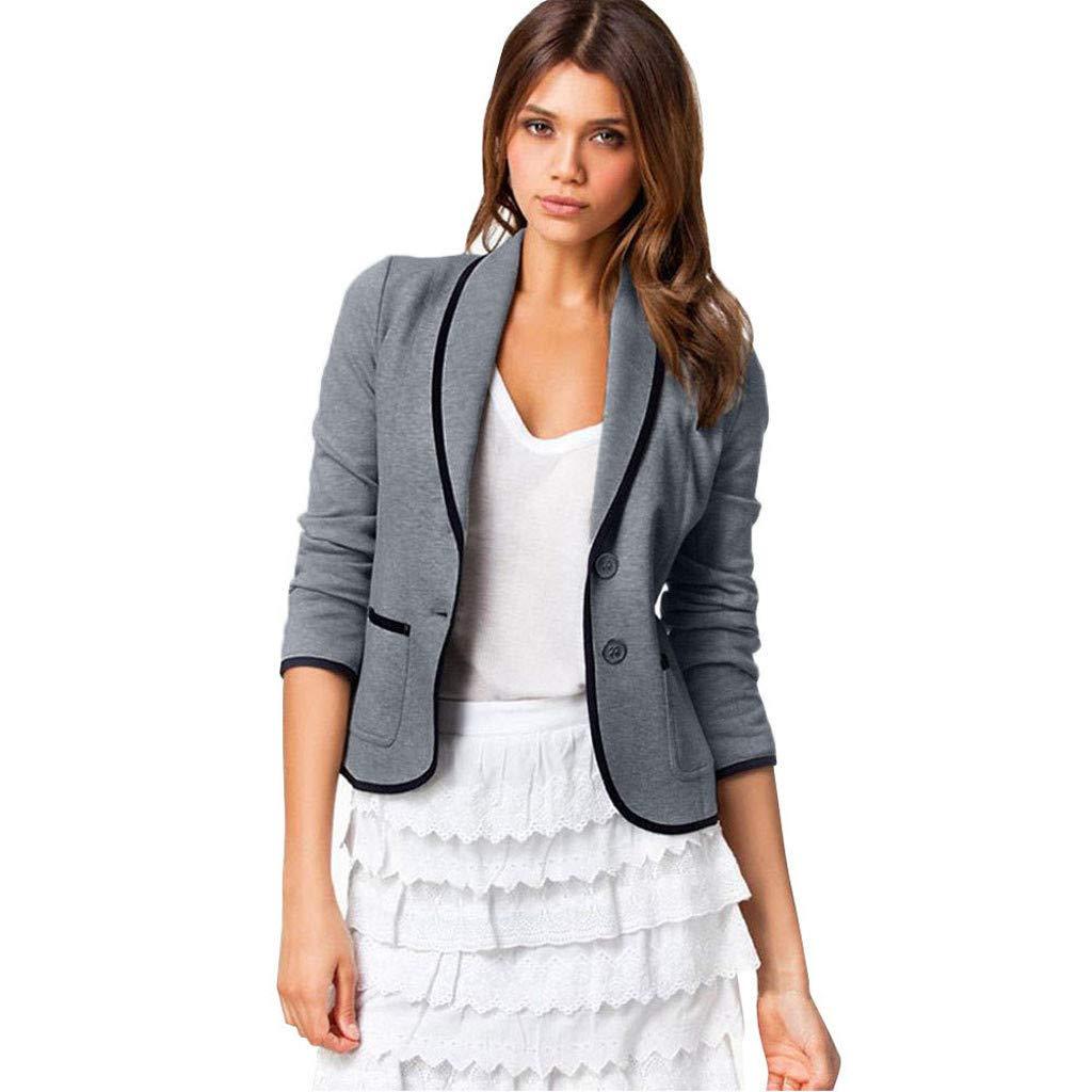 BCDshop Women Work Blazer Suit Coat Long Sleeve Tops Slim Short Jacket Button Pocket Outwear (XL, Dark Gray) by BCDshop_Jacket