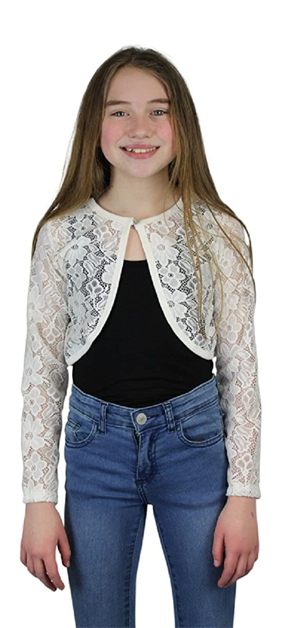 Ozmoint Kids Childrens Girls Classic Lace Fabric Crop One Button Open Front Long Sleeve Cardigan Bolero Pink Cream Black 2-12 Years