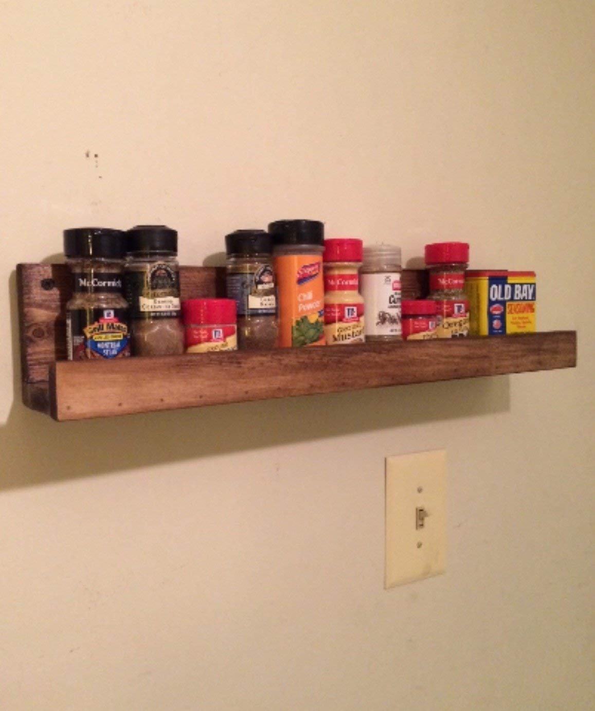 Amazoncom Rustic Wooden Spice Rack Floating Spice Rack Floating