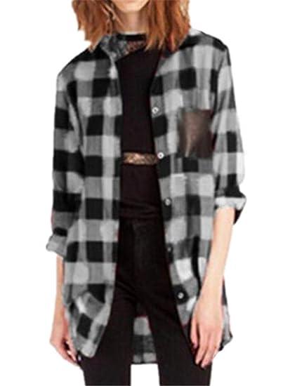 AILIENT Blusas Mujeres Camisetas De Manga Larga Cuadros T Shirt Cardigan Blusas Suelto Camisas Elegantes Tops