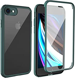 """LOFTER iPhone SE 2020 Case with Built-in Tempered Glass Screen Protector iPhone 8 Transparent 360 Full Body Rugged Clear Bumper Case Protection Slim Cover for iPhone SE 2020/8 4.7"""" Midnight Green"""