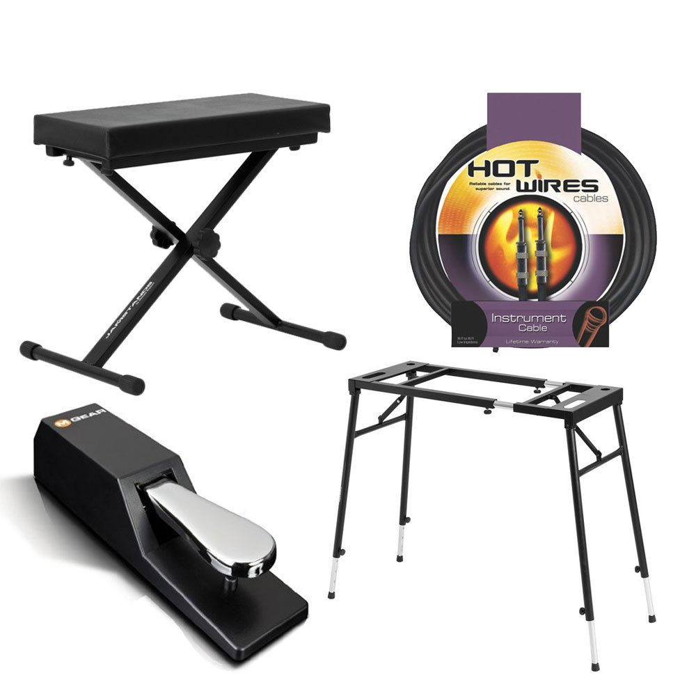 Ultimate Support JS-MPS1 Multi-Purpose Mixer/Keyboard Stand + Ultimate Support JS-MB100 Medium X-Style Keyboard Bench + M-Audio SP-2 Universal Sustain Pedal + Instrument Cable + Value Accessory Bundle by PHOTO4LESS