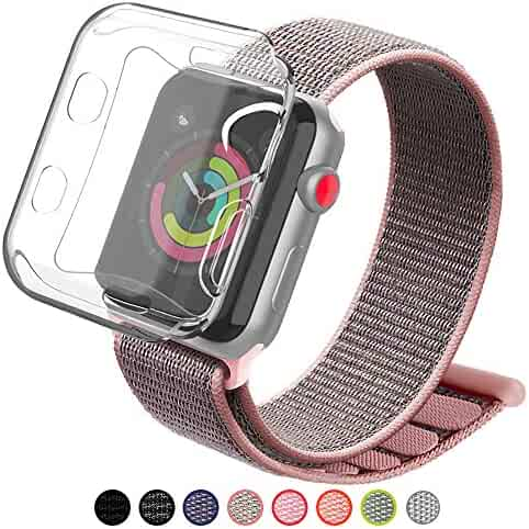 YIUES Compatible Apple Watch Band 38mm 42mm Case, Soft Breathable Lightweight Nylon Sport Loop, Adjustable Sport Loop Band Compatible Apple Watch Series 3/2/1