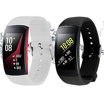 Rukoy Correas Samsung Gear Fit 2 Band/Gear Fit 2 Pro [Paquete de 2: Negro + Blanco], Accesorios para Baterías de Repuesto para Samsung Gear Fit2 Pro ...