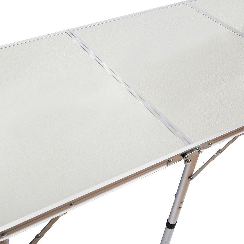 QITAO/® 1,8/m Table Pliante en Aluminium Coffre de Voiture Buffet//Mariage//Jardin//f/ête de Rue in//Out Porte//march/é//Fete//Fair Pliable