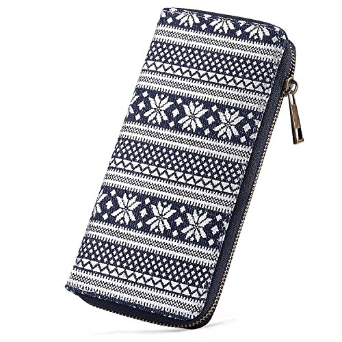 Women Canvas Zipper Clutch Purse Credit Card Wallets to Organize Your Cash,Bank Card,and Phone with Removable Wristlet Strap
