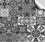 24 Kitchen bathroom tile stickers for 6 inch wall tiles – Flat printed stickers sticks on tile covers tiles transfers covers for kitchen bathroom wall tiles - Moroccan Greys TP15