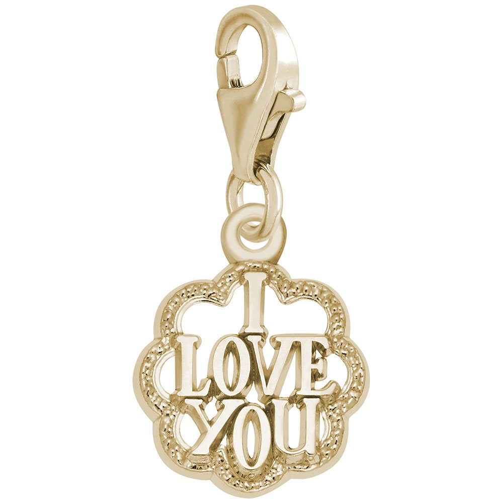 14K Yellow Gold I Love You Charm With Lobster Claw Clasp, Charms for Bracelets and Necklaces