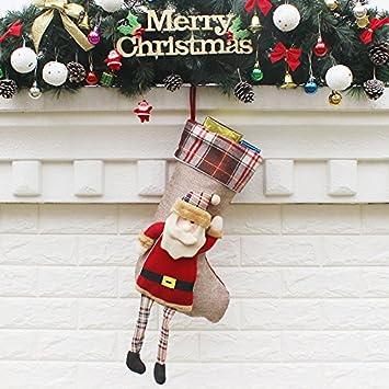 Top Shishang 21.5 * 50.5 * 24 cm Calcetines de Navidad Bordados a Mano Personalizada de
